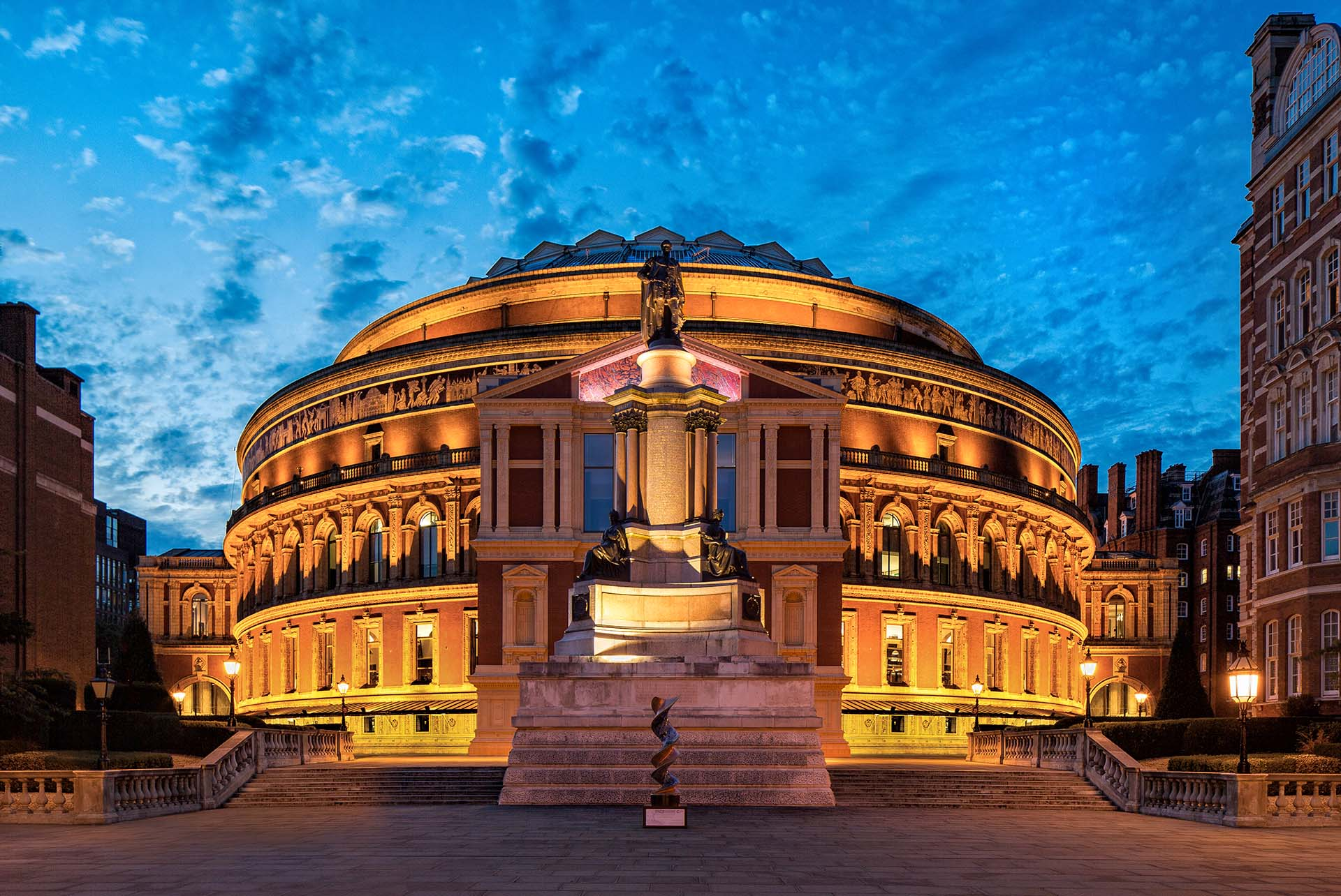 The Royal Albert Hall's South entrance at night